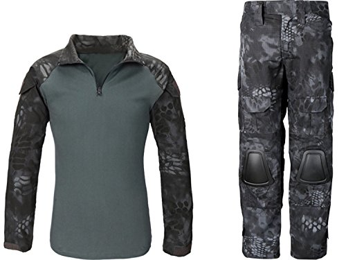Myheartgoon-Second-Generation-the-Frog-Camouflage-Suit-Tactical-Pants-Jaket-with-Knee-Pads-Elbow-Pads-Battle-Strike-Uniform-Suit-Amping-Hiking-Hunting-Paintball-Pants-BLACK