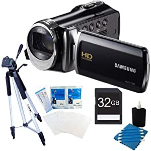Samsung HMX-F90 HD Digital Video Camcorder (Black) Premium kit with a 32GB card, full size tripod, lcd screen protectors and a lens cleaning kit.