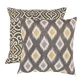 Pillow Perfect Damask and Rodrigo 23-Inch Floor Pillows, Graphite, Set of 2