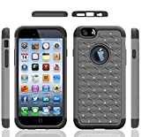 Iphone 6 Case, Meaci® Cellphone Case for Iphone 6 (4.7 Inch) 2 in 1 Case Combo Hybrid Case Glitter/bling Diamond Dual Layer Pc and Silicon Rubber Protective Case (gray and black)