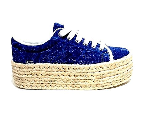 JC Play by Jeffrey Campbell scarpe da donna Sneakers con zeppa in rafia Zomg Jute - Blu-39