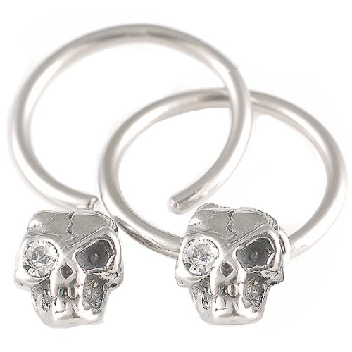 14g 14 gauge 1.6mm 15mm Steel nipple bars ear plug ring closure ring bcr captive bead bar skull crystal Clear Body Piercing Jewellery 2Pcs AEGT