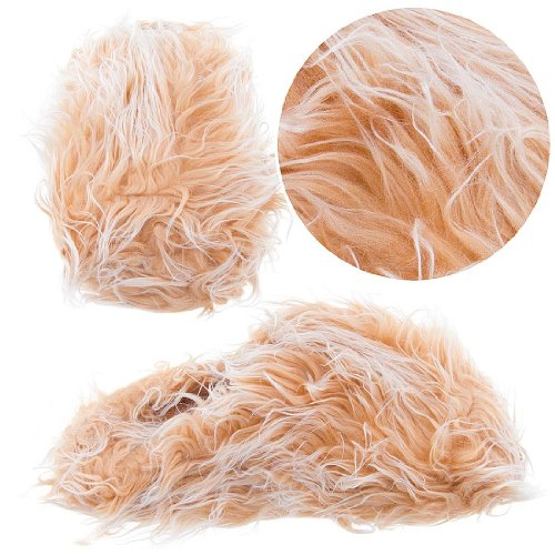 Image of Beige Fuzzy Slippers for Women (B0077QTOW0)