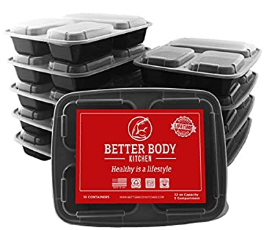 Meal Prep Food Containers by Better Body Kitchen ( Set of 10 ) - 3 Compartments and 32 oz Capacity for a Bigger Better Meal