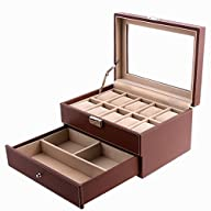 Songmics Brown Leather 10 Watch Box w…