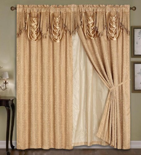 Luxury Dallas Jacquard Panel with attached valance