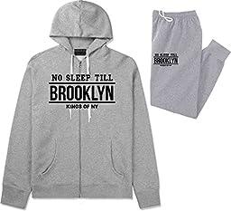 Kings Of NY No Sleep Till Brooklyn Mens Sweat Suit Hoodie Pants Grey XX-Large