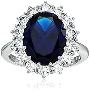 """Platinum-Plated Sterling Silver Celebrity """"Kate"""" Ring made with Swarovski Zirconia Accents, Size 6 by Amazon Collection"""
