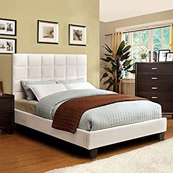 Pebble Contemporary Style Ivory Finish Cal King Size Bed Frame Set