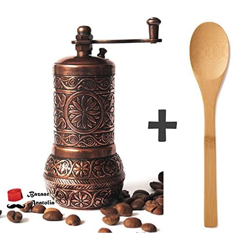 Bazaar Anatolia Turkish Grinder, Pepper Mill, Spice Grinder, Salt Grinder 4.2'' (Antique Copper)