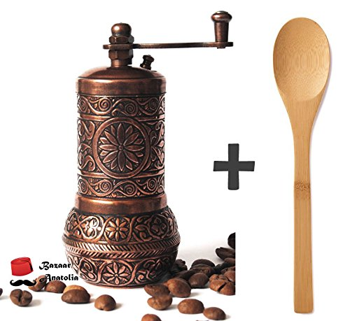 Bazaar Anatolia Turkish Grinder, Pepper Mill, Spice Grinder, Salt Grinder 4.2'' (Antique Copper) 0
