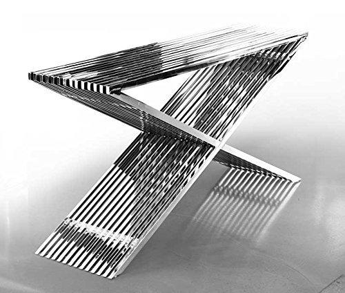 acciaio inox CREDENZA BAUHAUS lunghezza 152 cm x Profondità 40 altezza 76 / 46 kg. con acrilico distanzstucken. MOLTO NOBILE! ABBINATI Sgabello, Tavolino da salotto e panca in disponibile