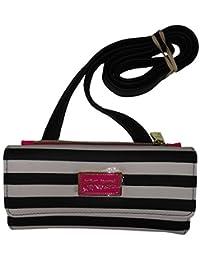 "Betsey Johnson Women's ""Wallet On A String"", Top Zip Insert, Black/White Striped"
