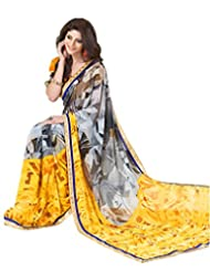 Indian Designer Sari Groovy Abstract Printed Faux Georgette Saree By Triveni