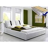 Polsterbett weiss komplett Bett 180x200 + Lattenrost + Matratze Kunstlederbett Doppelbett Designerbett Lian