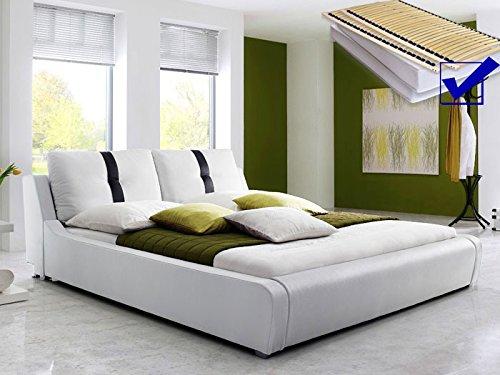 Polsterbett weiss komplett Bett 180×200 + Lattenrost + Matratze Kunstlederbett Doppelbett Designerbett Lian kaufen