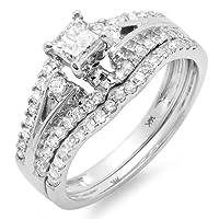 1.15 Carat (ctw) 14k White Gold Princess & Round Diamond Ladies Ring Engagement Bridal Wedding Band Set