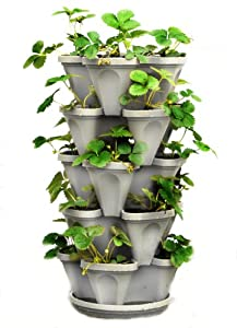 Stacking Four Clover Planter - Hanging Stone Colored Pots - 5 Stackable Layers