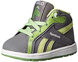 Reebok The Good Dino Court Mid TD Classic Shoe (Infant/Toddler), Shark/Tin Grey/Bright Green/Luminous Lime, 2 M US Infant