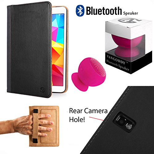 Leather Portfolio With Kickstand & Camera Hole [Slim] For Samsung Galaxy Tab Pro 10.1 + Pink Bluetooth Suction Speaker