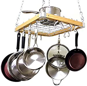 Hanging pot pan rack kitchen ceiling cookware for Overhead pots and pans rack