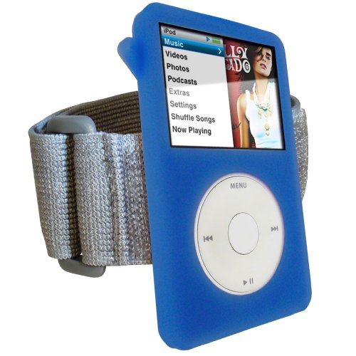iGadgitz Blue Silicone Skin Case Cover for Apple iPod Classic 80GB, 120GB & Latest 6th Generation 160gb launched Sept 09 + Screen Protector & Lanyar