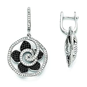 Sterling Silver & Cz Brilliant Embers Flower Dangle Hinged Hoop Earrings