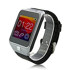 Develop 2015 New V8 Smartwatch Bluetooth 4.0 Sync Call SMS MP3 Pedometer Sleep Monitor Men Watches Remote Camera for for Android Smart Phone and Apple iPhone 6 Plus Silver Color