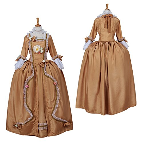 [CosplayDiy Women's Rococo Medieval Aristocrat Ball Gown Victorian Yellow Dress XXXL] (Victorian Aristocrat Costume)