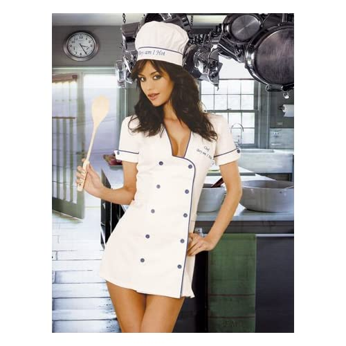 Adult Halloween Costumes : Hot Babes in Chef - 3pc Costume, Mini Dress w/Button Front, Hat and Spatula