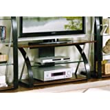 TV Stand with Tempered Glass in Espresso Finish