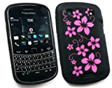 FLASH SUPERSTORE BLACKBERRY 9900 BOLD TOUCH SILICON CASE/COVER/SKIN FLORAL BLACK/PINK
