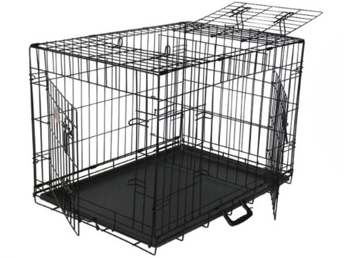 Gopetclub 3-Door Metal Pet Crate, 30-Inch