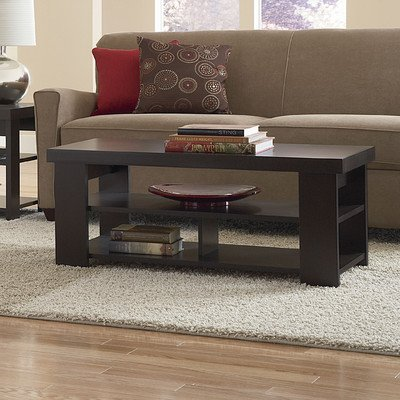 Hollow Core Contemporary Coffee Table, Black Forest Finish image
