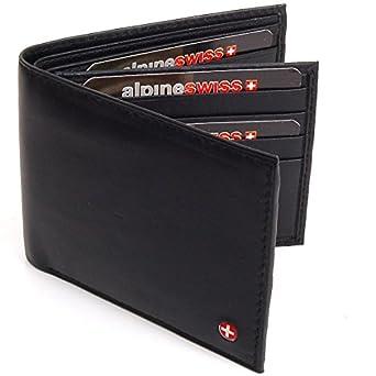 Men's Leather Wallet Euro Traveler Extra Capacity Bifold Center Flip ID Window Black