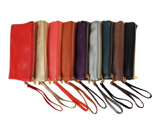 Humble Chic Large Wristlet with Included Cross Body Strap - Vegan Leather - Leather Cross Body Bag
