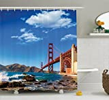 Ambesonne Apartment Decor Collection, San Francisco Golden Gate Bridge GGB Rocky Sea Waterscape Scenic Coastline Vacation Image, Polyester Fabric Bathroom Shower Curtain Set with Hooks, Blue