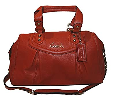 Coach Ashley Leather Satchel Hanbag Purse Handbag Vermillion Orange 19247