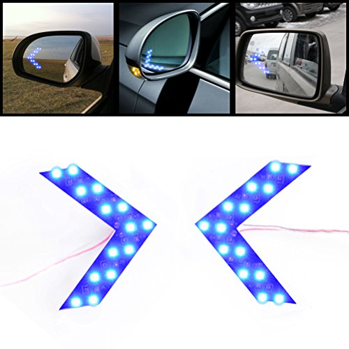 2x Brilliant Blue 14-SMD LED Side Mirror Arrow Panel Indicator Add-on Blinker Turn Signal Light for Auto Car Vehicle Truck SUV (Side Mirror Blinker compare prices)