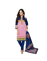 Siddhi Cotton Pink & Blue Printed Salwar Suit & Dupatta Material