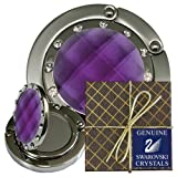 50 Chatt Purple & Swarovski pp24 Crystal, FOLDING Mirror Hooks Pouches, Gift Boxes