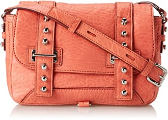 Rebecca Minkoff Pebbled Leather Willi Crossbody Cross Body Bag,Coral,One Size