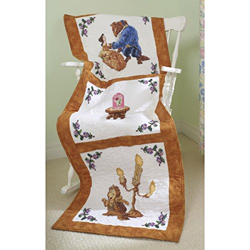 M C G Textiles Disney Dreams Stamped 3-Design Quilt Blocks, Beauty and The Beast Falling in Love, 6-Pack