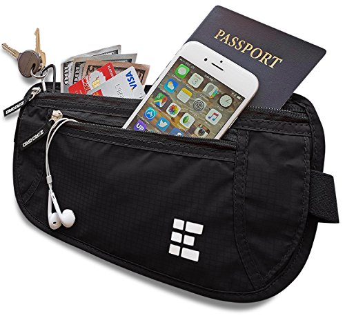 Zero Grid Money Belt w/RFID Blocking - Concealed Travel Wallet & Passport Holder (Black)