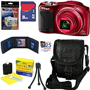 Nikon COOLPIX L610 16 MP Digital Camera with 14x Zoom NIKKOR Glass Lens and 3-inch LCD (Red) + 6pc Bundle 8GB Accessory Kit
