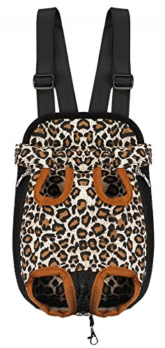 Samia® Pet Dog Puppy Cat Carrier Five Holes Backpack Double Shoulder Straps Canvas Cotton Front Chest Backpack Bag(leopard, Medium)