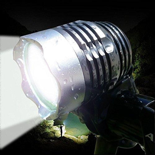 防水充電LED自転車ヘッドライト 超高輝度LED CREE XM-LT6 自転車ライト+ヘッドライト2in1機能! サイクルヘッドライト 最大1200ルーメン 3 段階調整可能 航空アルミ合金材質 4x18650バッテリーと充電器付き アウトドア 夜間活動 釣り