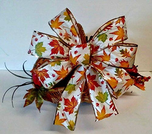 Wreath Bow With Maple Leaves for Fall Decorations ~ Office Decor ~ Halloween Wreath Bow for Party Decor ~ Door Wreath Bow ~ Corn Stalk Bow ~Fall Pew Bow (Candy Corn Vine compare prices)