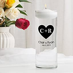 Personalized Floating Wedding Unity Candle- Carved Heart