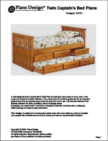 Children's Twin Bed with Trundle/Drawer Woodworking Plans, #1CPT1